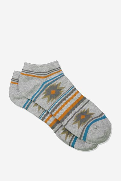 Mens Ankle Sock, GREY MARLE IKAT