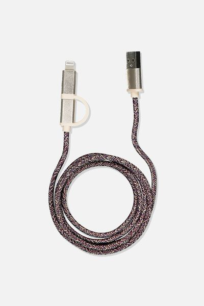 2 In 1 Charge/Sync Cable, BRONZE/VINTAGE CHECK