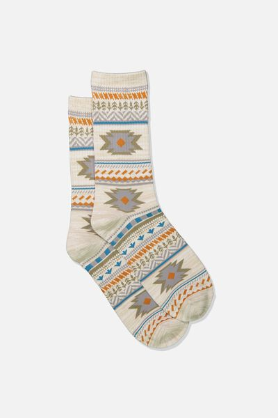 Single Pack Active Socks, GREY/KHAKI MELANGE/IKAT