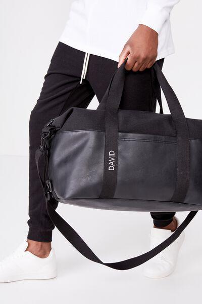 Personalised 2 Tone Transit Duffle Bag, BLACK