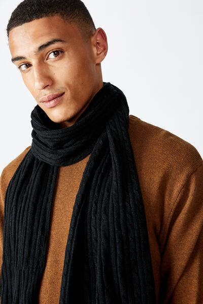 Chill Out Scarf, BLACK/CABLE KNIT