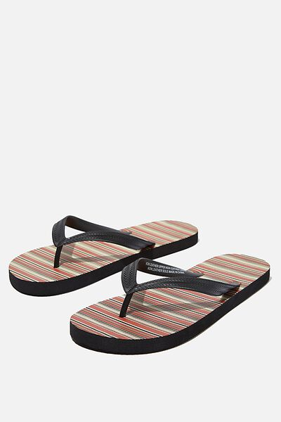 Bondi Flip Flop, BURNT ORANGE/BLACK STRIPE