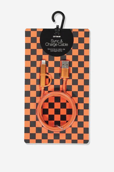 2 In 1 Charge/Sync Cable, ORANGE/METALLIC ORANGE