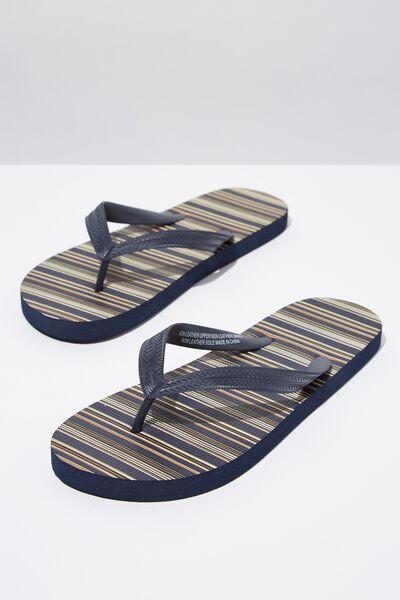 Bondi Flip Flop, NAVY/CAMEL STRIPE