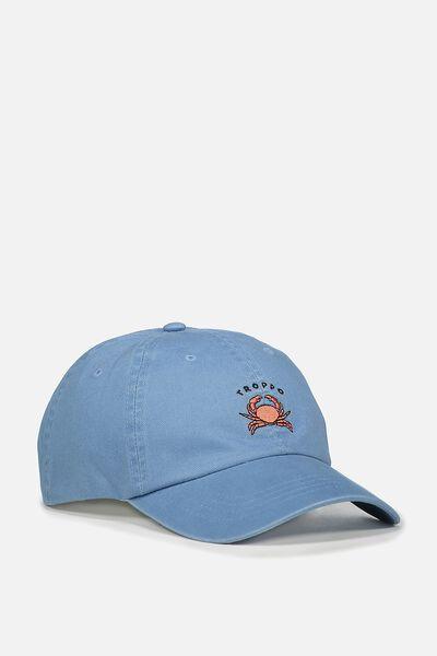 Strap Back Dad Hat, WASHED BLUE/TROPPO
