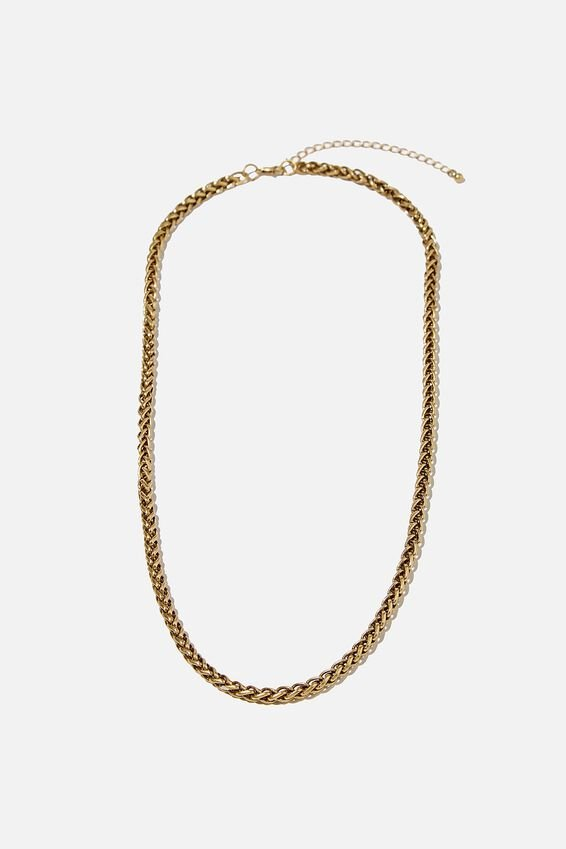 Mens Necklace, CHAIN/BURNISHED GOLD