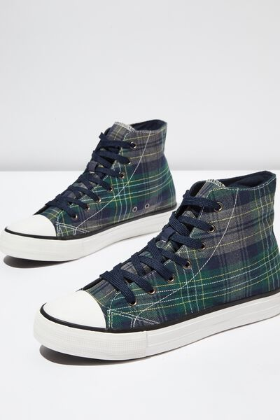 Tyler Hi-Top, NAVY/GREEN PLAID