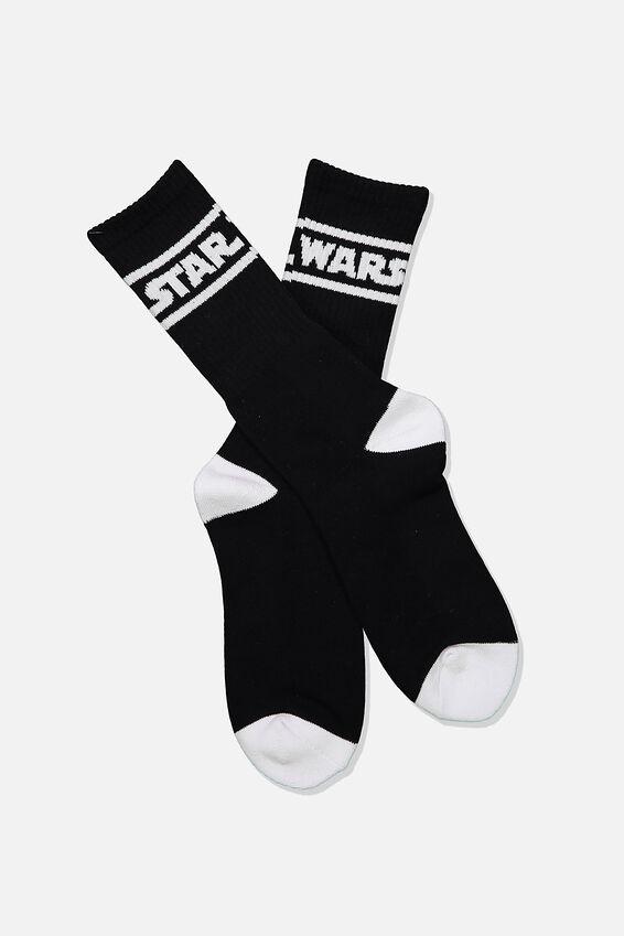 Single Pack Active Socks, LCN LUC BLACK/WHITE STAR WARS