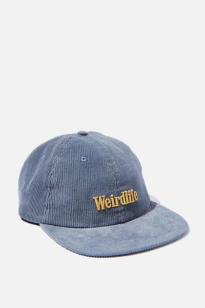 6 Panel Hat, STEEL BLUE CORDUROY/GOLD/WEIRDLIFE
