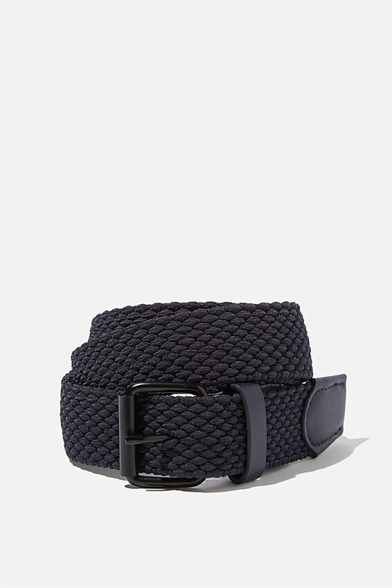 Hampton Plait Belt, NAVY/MATTE BLACK