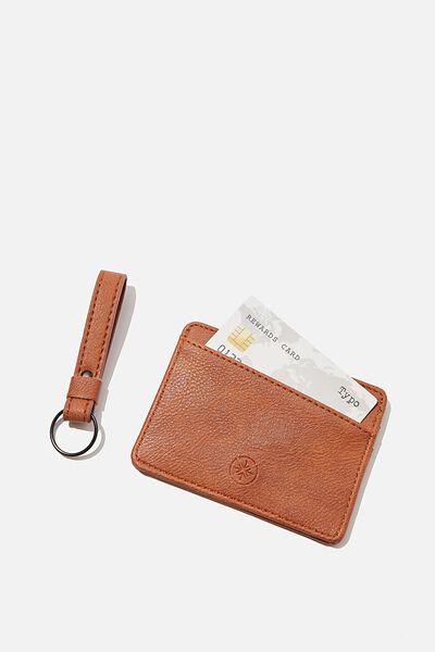 Card Holder & Bag Charm Gift Set, TAN