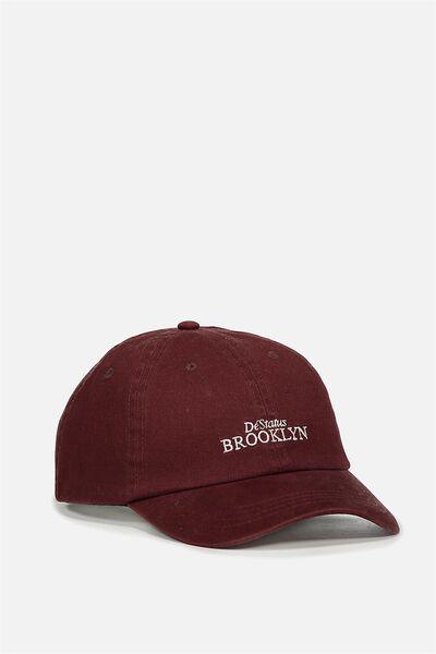 Strap Back Dad Hat, BARN RED/DESTATUS