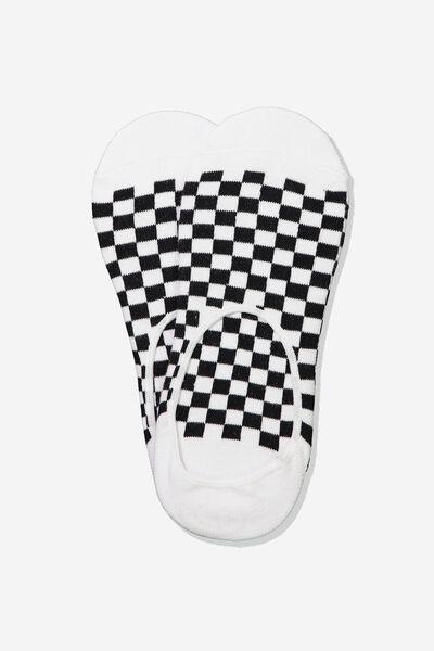 Invisible Socks 2 Pack, BLACK/WHITE CHECK