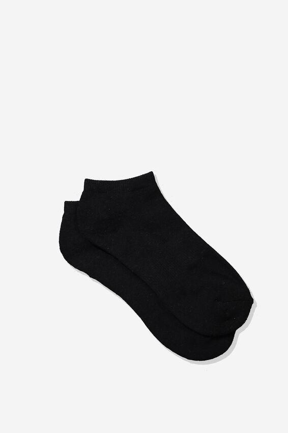 Mens Ankle Sock, BLACK