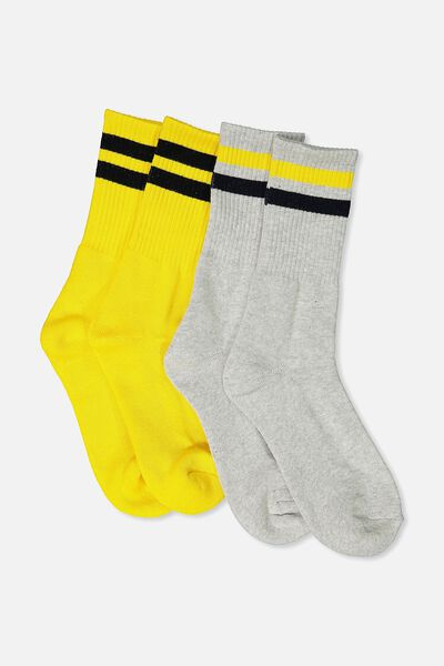 2 Pack Crew Socks, YELLOW SPORT STRIPE