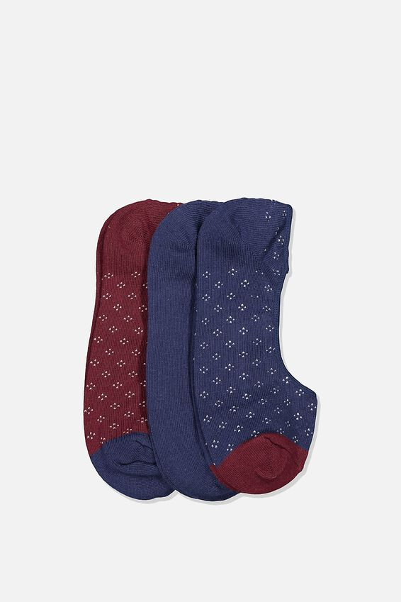 Invisible Socks 3 Pack, DITSY/NAVY/BURGUNDY