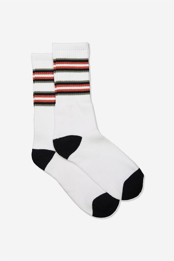 Single Pack Active Socks, WHITE ROOIBOS RED CUFF STRIPE