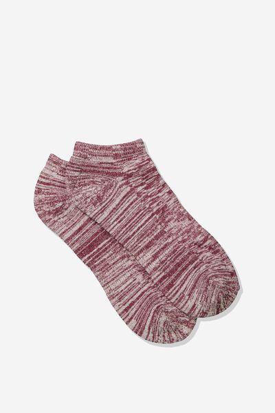 Mens Ankle Sock, BURGUNDY/OFF WHITE MELANGE