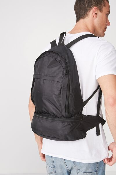 Two In One Bumbag Backpack, BLACK