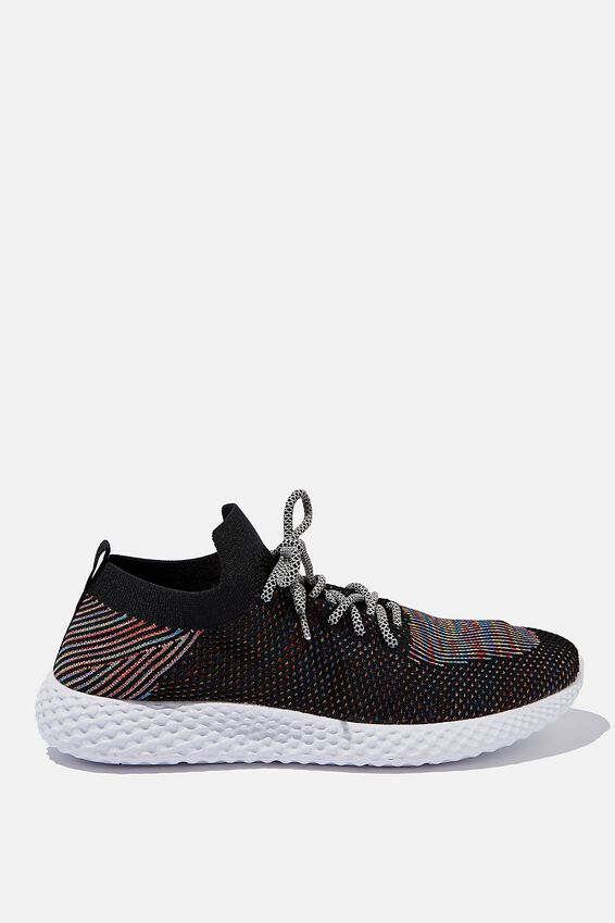 Hatcher Knit Trainer, BLACK/RAINBOW/WHITE