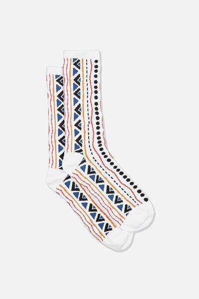 Single Pack Active Socks, WHITE/BLUE/ORANGE TRIBAL