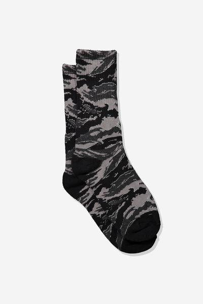 Single Pack Active Socks, BLACK/TIGER CAMO