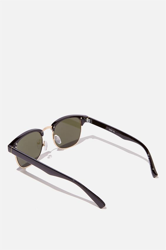 Leopold Sunglasses, BLACK GLOSS/GOLD/GREEN