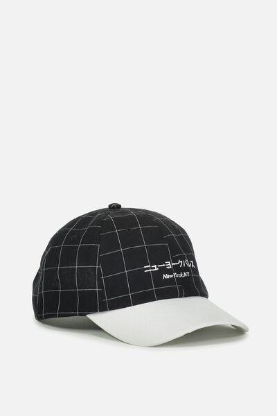 Strap Back Dad Hat, BLACK/WHITE/NEW YORK NY