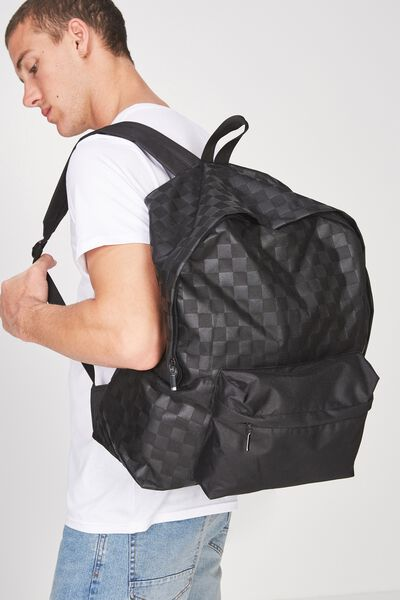 Oversized Backpack, BLACK TONAL CHECK/UNTITLES NO.7