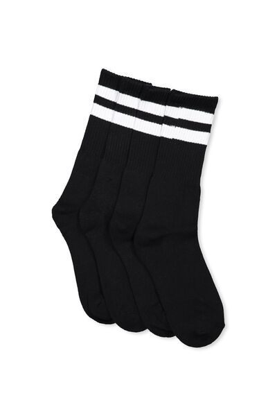 2 Pack Crew Socks, BLACK SPORT STRIPE