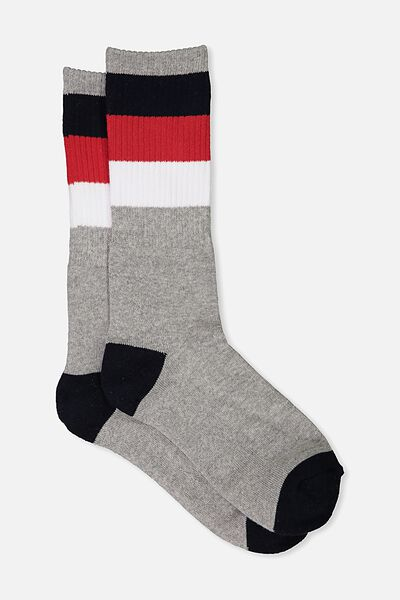 Single Pack Active Socks, GREY MARLE/TRACK STAR
