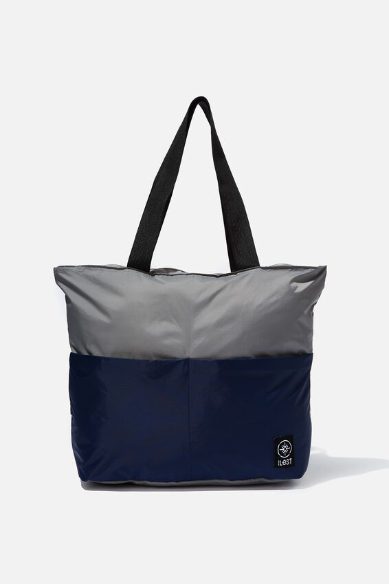 Packable Tote, GREY/TRUE NAVY