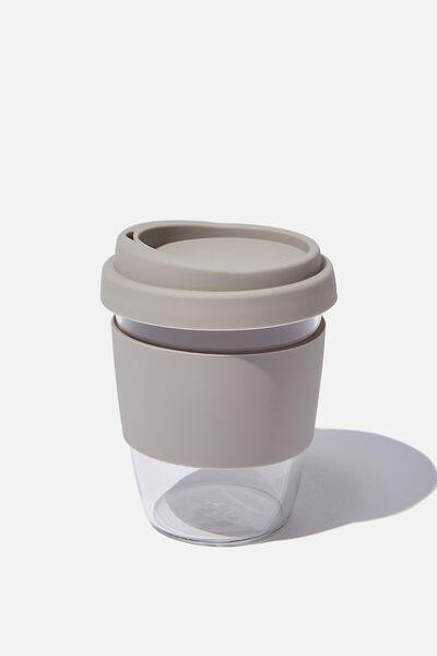 Reusable Glass Coffee Cup 380Ml, GREY