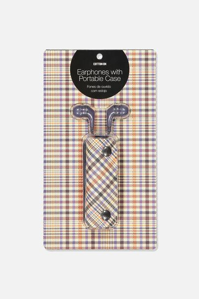 Earbuds With Case, NAVY/VINTAGE PLAID