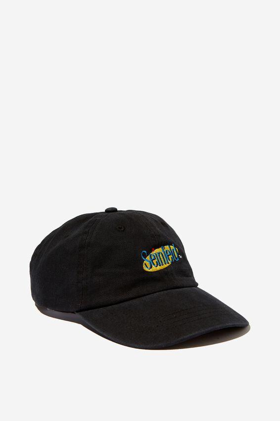 Strap Back Dad Hat, LC BLACK/SEINFELD