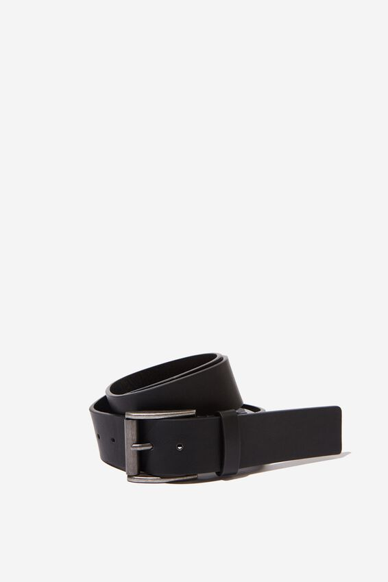 Square Buckle Pu Belt, BLACK
