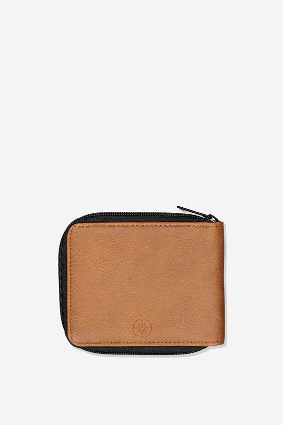 Mens Zip Wallet, TAN