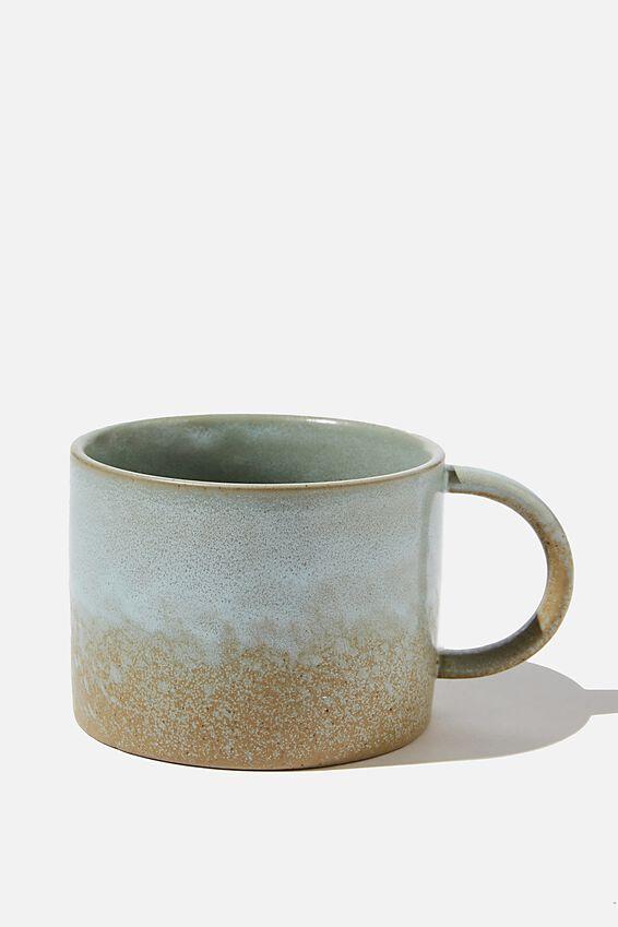 Ceramic Large Mug, GREY/GREEN REACTIVE