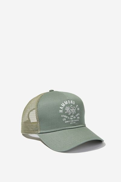 Wicked Print Trucker, WASHED KHAKI/HAMMOND CO