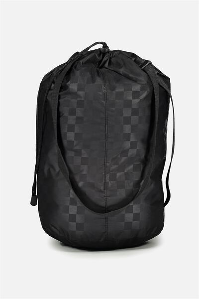 Nylon Satchel Bag, BLACK TONAL CHECK/ CHECK