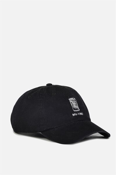 Strap Back Dad Hat, BLACK/VIBES