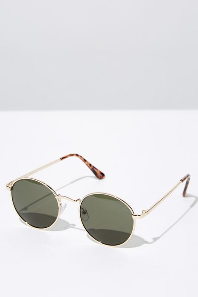 Columbus Sunglasses, GOLD/GREEN MONO