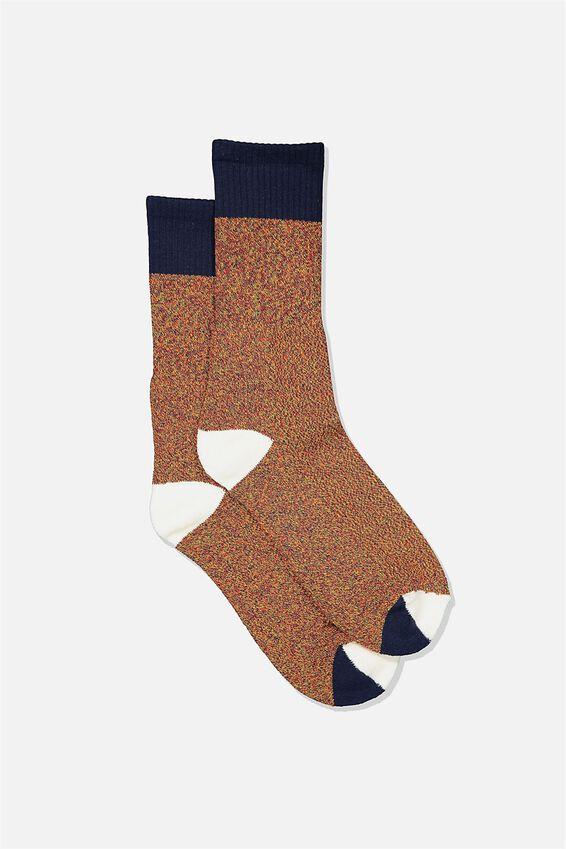 Single Pack Active Socks, NAVY RED BLOCK MELANGE