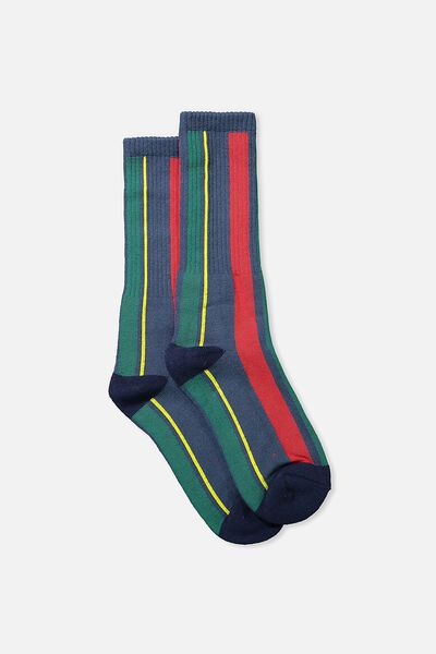 Single Pack Active Socks, NAVY SPORT HOUSE STRIPE
