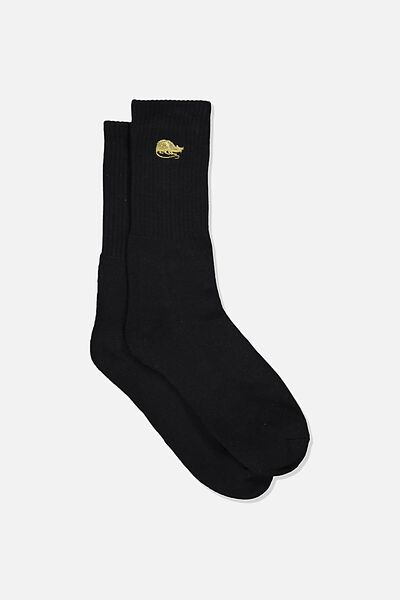 Single Pack Active Socks, BLACK/GOLD RAT