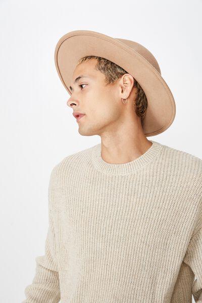 Wide Brim Felt Hat, BROWN