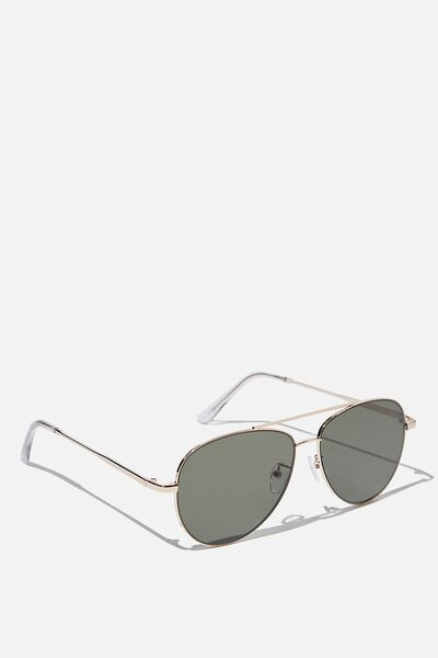 Marshall Sunglasses, GOLD/CLEAR/GREEN FLAT