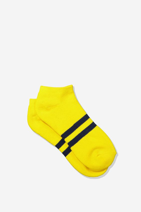 Mens Ankle Sock, YELLOW/NAVY SPORT STRIPE