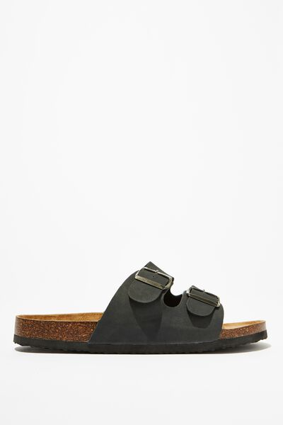Double Buckle Sandal, BLACK