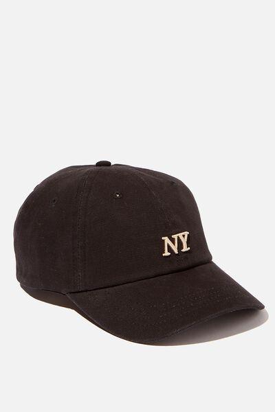 Strap Back Dad Hat, BLACK/SAND/NY